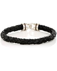 Zadeh - Sterling Silver & Braided Leather Bracelet - Lyst