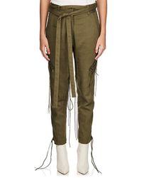 Saint Laurent - Cotton-linen Twill Lace-up Pants - Lyst