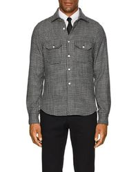 Kiton - Houndstooth Wool-silk Shirt Jacket - Lyst