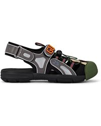 be81e76ab Gucci Leather And Mesh Sandals in Black for Men - Lyst