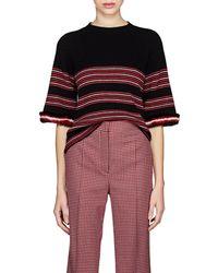Fendi - Fur-trimmed Striped Rib-knit Wool-blend Top - Lyst