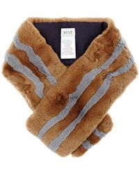 Kule - The Monroe Striped Rabbit Fur Pull-through Scarf - Lyst