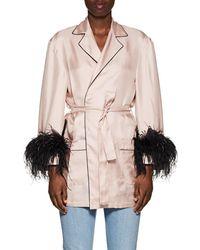 Prada - Feather-accented Silk Satin Robe - Lyst