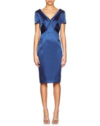 Zac Posen - Satin Fitted Cocktail Dress - Lyst