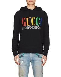 9bcd8ec2096 Lyst - Gucci Logo Cotton Hoodie in Black for Men