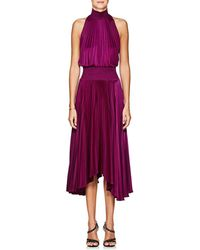A.L.C. - Renzo High-neck Sleeveless Pleated Satin Midi Cocktail Dress - Lyst