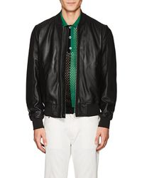 PS by Paul Smith - Suede-trimmed Leather Bomber Jacket - Lyst