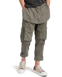 Greg Lauren Army Overfold Crop Pants - Green