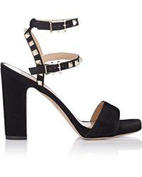 Valentino - Rockstud Suede Platform Sandals - Lyst