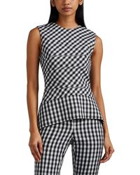Narciso Rodriguez - Gingham-weave Wool Peplum Top - Lyst