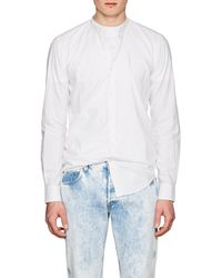 Barneys New York - Band-collar Cotton Shirt - Lyst