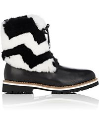 Mr & Mrs Italy | Leather & Rabbit Fur Combat Boots | Lyst
