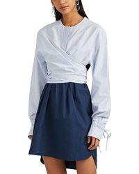Cedric Charlier - Striped Cotton Shift Dress - Lyst