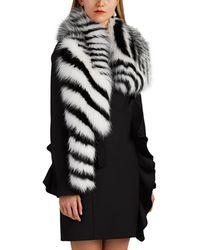 Valentino - Striped Fox Fur Collar - Lyst