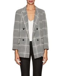L'Agence - Taryn Houndstooth-plaid Silk Double-breasted Blazer - Lyst