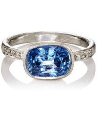 Malcolm Betts | White Diamond & Blue Sapphire Ring | Lyst
