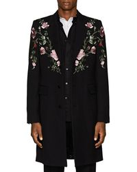 Alexander McQueen - Rose-embroidered Wool-silk Coat - Lyst