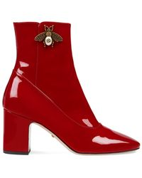 Gucci - Patent Leather Ankle Boots - Lyst