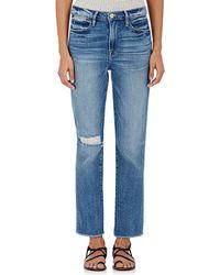 FRAME - Le High Straight Raw Edge Jeans - Lyst