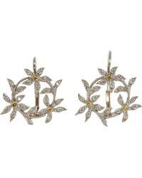 Cathy Waterman - Circle Of Flowers Drop Earrings - Lyst
