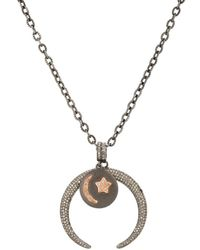 Feathered Soul - Diamond-encrusted Arc Pendant Necklace - Lyst
