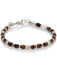 Caputo & Co. - Tiger's Eye & Sterling Silver Beaded Bracelet - Lyst