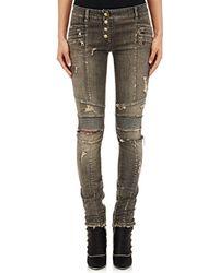 Balmain - Distressed Skinny Moto Jeans - Lyst
