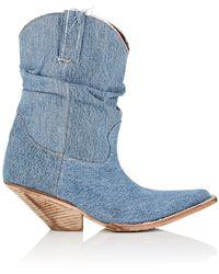 R13   Slouchy Denim Cowboy Boots   Lyst