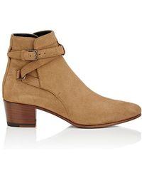 Saint Laurent - Black Suede Ankle Boots - Lyst