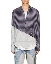 Greg Lauren - Plaid Flannel & Jersey Studio Shirt Size 4 - Lyst