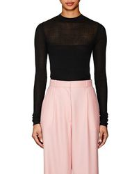 Narciso Rodriguez - Mixed-rib-knit Silk-blend Fitted Jumper - Lyst