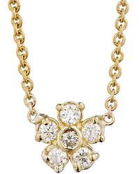 Jennifer Meyer - White Diamond Flower Charm Necklace - Lyst