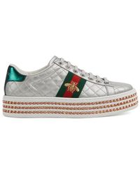Gucci - Ace Sneaker With Crystals - Lyst