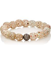 Devon Page Mccleary - White Diamond & Venetian Glass Beaded Bracelet - Lyst
