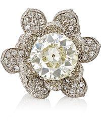 Munnu - Women's White-diamond Lotus Ring - Lyst