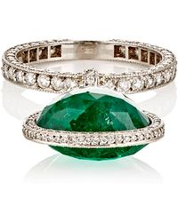 Munnu - Women's Emerald-drop-accented Band - Lyst