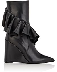 J.W.Anderson | Ruffle-trim Leather Wedge Boots | Lyst