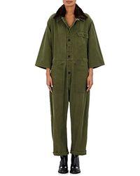 Harvey Faircloth - Faux Fur Collar Jumpsuit - Lyst