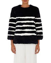 Kule - Striped Rabbit Fur Jacket Size S - Lyst