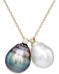 Samira 13 - White Diamond & Pearl Necklace - Lyst
