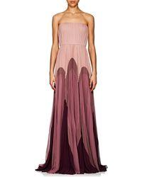 J. Mendel - Colorblocked Silk Strapless Gown - Lyst
