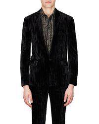 Saint Laurent - Uneven-striped Velvet One-button Sportcoat - Lyst