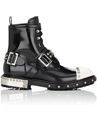 Alexander McQueen - Hobnail Leather Studded Combat Boots - Lyst