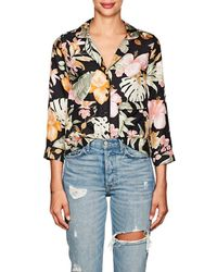Barneys New York - Tropical-floral Silk Pajama-style Blouse - Lyst