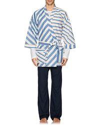 Barneys New York - Striped Cotton Poplin Kimono - Lyst