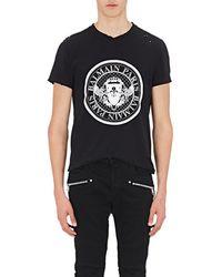 Balmain - Logo Distressed Cotton T-shirt - Lyst