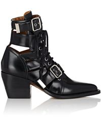 Chloé - Rylee Cutout Glossed-leather Ankle Boots - Lyst