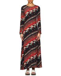 Warm - Bird-print Crepe Long Dress - Lyst