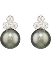 Samira 13 - Diamond & Tahitian Pearl Earrings - Lyst