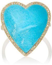 Jennifer Meyer - Turquoise Inlay & Diamond Heart Ring - Lyst
